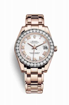 Replica Rolex Pearlmaster 34 18 ct Everose gold 81285 White Dial Watch
