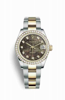 Replica Rolex Datejust 31 Yellow Rolesor Oystersteel 18 ct yellow gold 178383 Black mother-of-pearl Jubilee design set diamonds